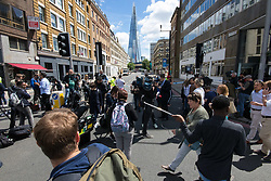 London, June 4th 2017. A large media presence is gathered at various vantage points during a massive policing operation in the aftermath of the terror attack on London Bridge and Borough Market on the night of June 3rd which left seven people dead and dozens injured