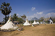 19 FEBRUARY 2008 -- SANGKLABURI, KANCHANABURI, THAILAND: The Thai-Burma border at Three Pagodas Pass a few miles from Sangklaburi, Thailand, near the Baan Unrak Children's Home. The border has officially been closed since October 2007 because of political violence in Burma, but the border near Sangklaburi is very porous and hundreds of Burmese have crossed into Thailand near here in recent months.  Baan Unrak children?s home and school, established in 1991 in Sangklaburi, Thailand, gives destitute children and mothers a home and career training for a better future. Baan Unrak, the ?Home of Joy,? provides basic needs to well over 100 children, and  abandoned mothers. The home is funded by donations and the proceeds from the weaving and sewing shops at the home. The home is a few kilometers from the Burmese border. All of the women and children at the home are refugees from political violence and extreme poverty in Burma, most are Karen hill tribe people, the others are Mon hill tribe people. The home was started in 1991 when Didi Devamala went to Sangklaburi to start an agricultural project. An abandoned wife asked Devmala to help her take care of her child. Devmala took the child in and soon other Burmese women approached her looking for help.    Photo by Jack Kurtz