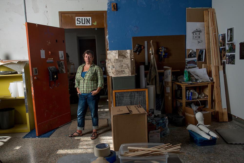 Artist Joey Behrens in her studio at the Ridges. Photo by Ben Siegel