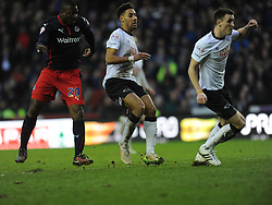 Readings Yakubu watches his shot hit the back of Derby Net, to score Reading second Goal, Derby County v Reading, FA Cup 5th Round, The Ipro Stadium, Saturday 14th Febuary 2015