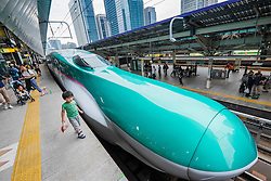 Hayabusa E5 Shinkansen bullet train of East Japan Railways at Tokyo Station Japan