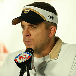2007 December, 16: New Orleans Saints Head Coach Sean Payton talks during a post game press conference following a 31-24 win by the New Orleans Saints over the Arizona Cardinals at the Louisiana Superdome in New Orleans, LA.