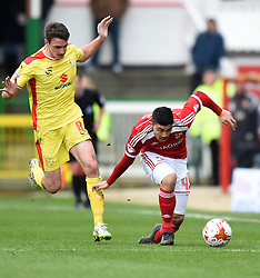 Swindon Town's Massimo Luongo takes a nasty tumble during Sky Bet League One match against Milton Keynes - Photo mandatory by-line: Paul Knight/JMP - Mobile: 07966 386802 - 04/04/2015 - SPORT - Football - Swindon - The County Ground - Swindon Town v Milton Keynes Dons - Sky Bet League One