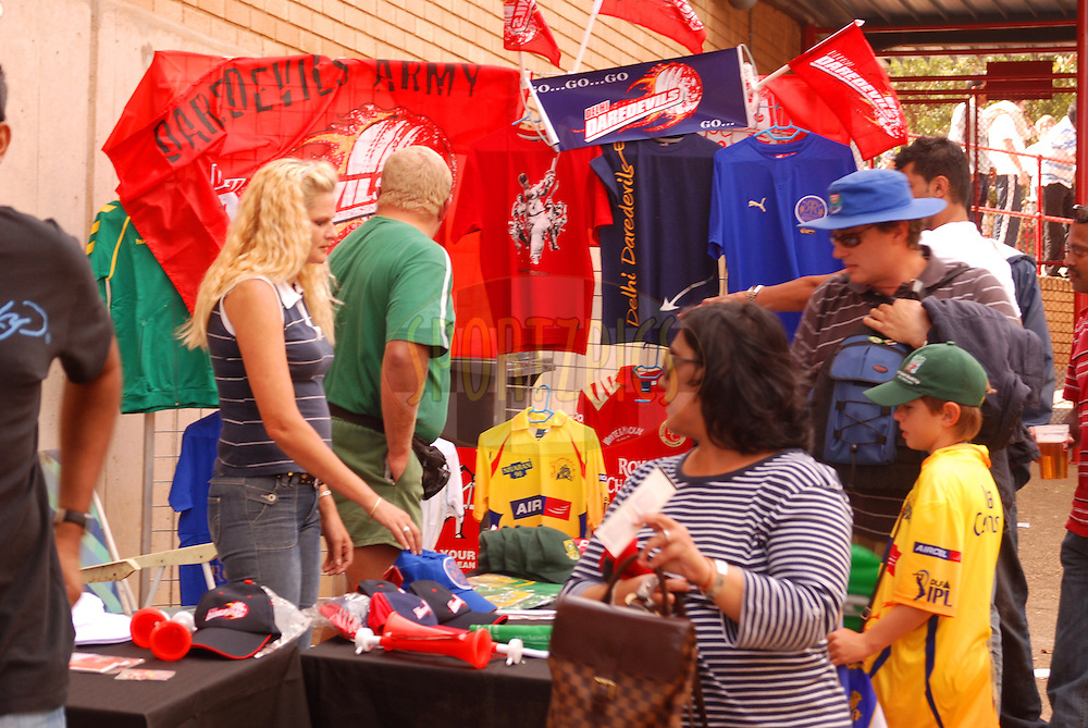 CENTURION, SOUTH AFRICA - 30 April 2009.  Kiosks selling memorabillia do brisk business during the IPL Season 2 match between the Deccan Chargers and Delhi Davedevils held at Centurion, South Africa.