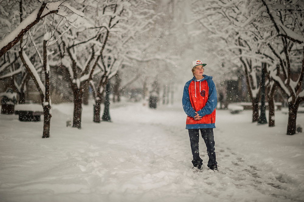 Brock Crouch poses for a portrait at the RedBull Performance Camp in Aspen Colorado, United States on April 14th, 2013