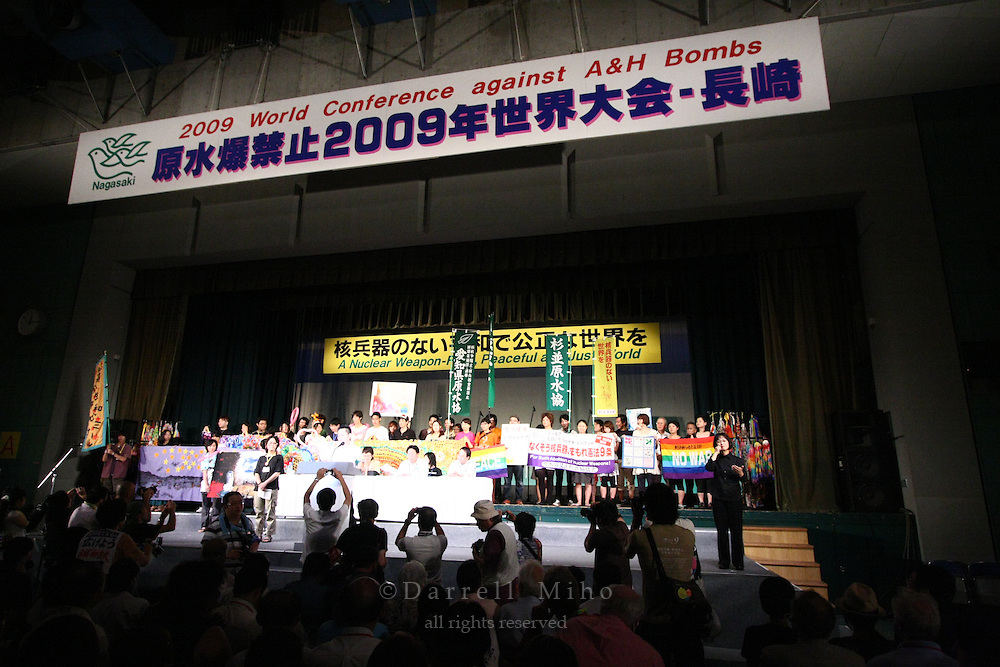 Aug 09, 2009; Nagasaki, Nagasaki Pref., JPN - Students gather on stage at the World Conference Against A & H Bombs...Photo credit: Darrell MIho.