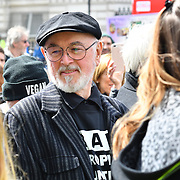 Peter Egan attend the rally at the 5th Global March for Elephants and Rhinos march against extinction and trophy hunting murdering and killing animals for blood spots and ivory trade outside downing street on 13 April 2019, London, UK.