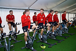 CARDIFF, WALES - Monday, September 3, 2018: Wales' Harry Wilson and Chris Mepham on warm-up bikes in the pre-activation tent before a training session at the Vale Resort ahead of the UEFA Nations League Group Stage League B Group 4 match between Wales and Republic of Ireland. (Pic by David Rawcliffe/Propaganda)