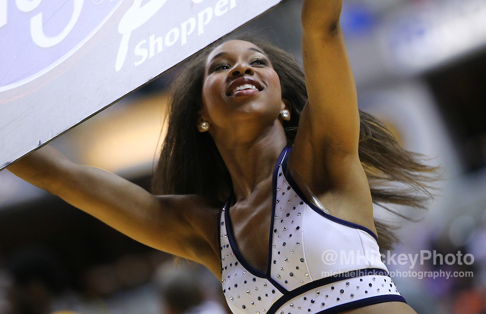 April 03, 2012; Indianapolis, IN, USA; An Indiana Pacers cheerleader dances on the court during a timeout at Bankers Life Fieldhouse. Indiana defeated New York 112-104. Mandatory credit: Michael Hickey-US PRESSWIRE