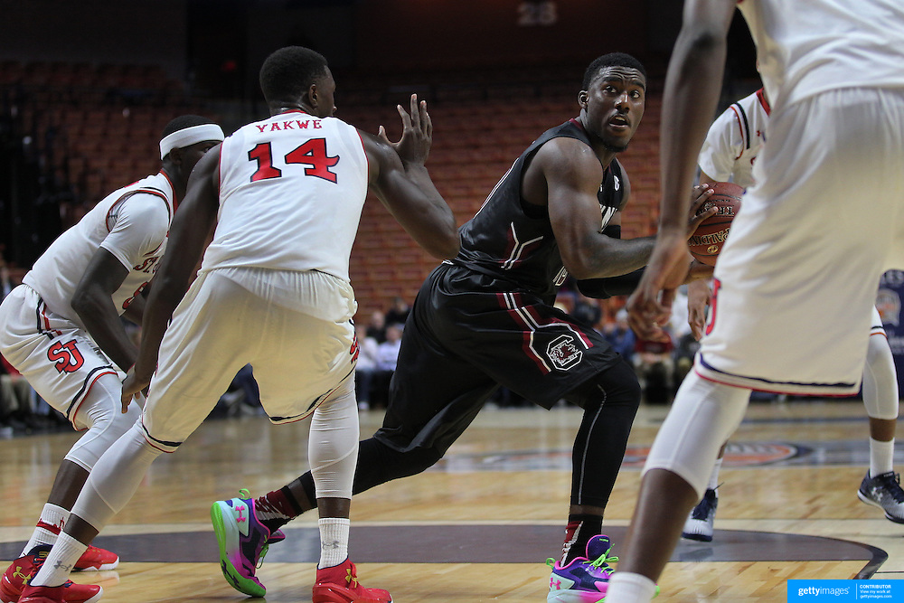 Duane Notice, South Carolina, in action during the St. John's vs South Carolina Men's College Basketball game in the Hall of Fame Shootout Tournament at Mohegan Sun Arena, Uncasville, Connecticut, USA. 22nd December 2015. Photo Tim Clayton