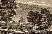 Oil wells at Hyde and Egbert's Farm, Oil Creek, 150 miles up the Allegheny River from Pittsburgh, Pennsylvania, USA.  Engraving from 'Discoveries and Inventions of the Nineteenth Century' by Robert Routledge (London. 1876).  Hydrocarbon.