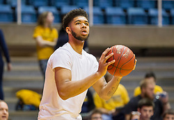 Jan 9, 2016; Morgantown, WV, USA; West Virginia Mountaineers forward Esa Ahmad (23) warms up prior to their game against the Oklahoma State Cowboys at the WVU Coliseum. Mandatory Credit: Ben Queen-USA TODAY Sports