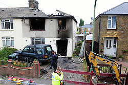 © Licensed to London News Pictures. 14/08/2018<br /> SWANSCOMBE, UK.<br /> A woman has been taken to hospital after a house fire in Swanscombe, Kent. Police are investigating the fire in Ames Road as suspicious. Four fire engines were sent to the blaze at 4.15am this morning.<br /> Photo credit: Grant Falvey/LNP