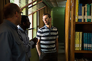 The Rev. Dr. Jeffrey Kloha, provost of Concordia Seminary, St. Louis, tours the library at the Mekane Yesus Seminary on Saturday, Nov. 8, 2014, in Addis Ababa, Ethiopia. LCMS Communications/Erik M. Lunsford