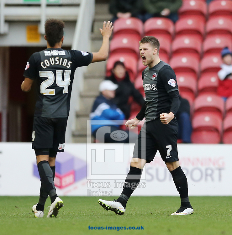 Johann Gudmundsson (r) of Charlton Athletic celebrates equalizing to make it 1-1 during the Sky Bet Championship match at the Riverside Stadium, Middlesbrough<br /> Picture by Simon Moore/Focus Images Ltd 07807 671782<br /> 07/02/2015