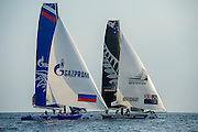 Gazprom and Emirates Team New Zealand,  Day three of the Extreme Sailing Series Regatta at Nice. 4/10/2014