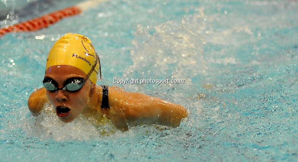 Kaitli Petherick in action, at the State New Zealand Division II Swimming Champs, at Moana pool, Dunedin, New Zealand. Friday13 April 2012. Photo: Richard Hood photosport.co.nz