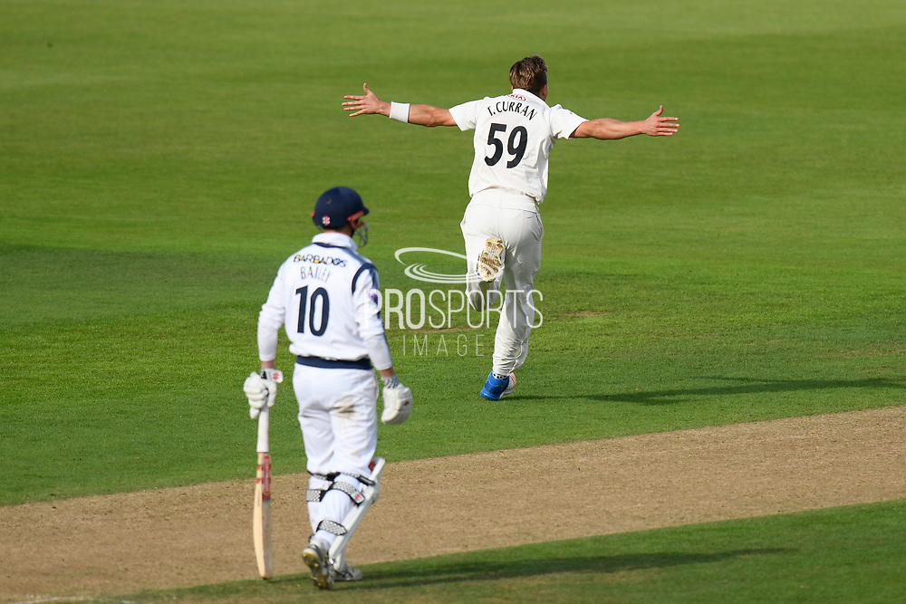Wicket - Tom Curran of Surrey celebrates taking the wicket of Sean Ervine of Hampshire during the Specsavers County Champ Div 1 match between Hampshire County Cricket Club and Surrey County Cricket Club at the Ageas Bowl, Southampton, United Kingdom on 6 September 2017. Photo by Graham Hunt.