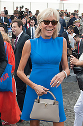 French Minister of the Economy, Industry and the Digital Sector Emmanuel Macron's wife Brigitte Trogneux during the 2015 annual Bastille Day military parade on Place de la Concorde square in Paris, France on July 13, 2015. President Pena Nieto is on a three-day state visit to France. Photo by Thierry Orban/ABACAPRESS.COM  | 509116_019 Paris France