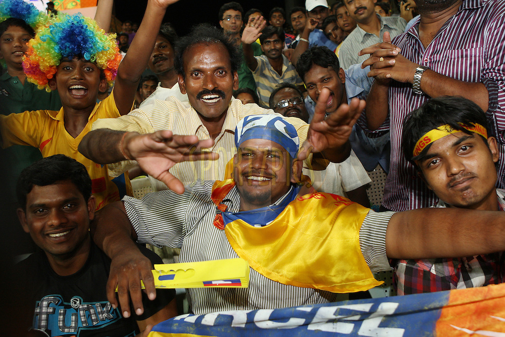 Spectators enjoying the atmosphere during the second Qualifying match of the Indian Premier League ( IPL) 2012  between The Chennai Superkings and the Delhi Daredevils held at the M. A. Chidambaram Stadium, Chennai on the 25th May 2012..Photo by Jacques Rossouw/IPL/SPORTZPICS