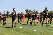 FGR squad being put through their paces during the first day back at training for Forest Green Rovers at the New Lawn, Forest Green, United Kingdom on 2 July 2018. Picture by Shane Healey.