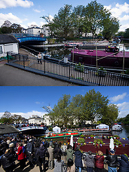 © Licensed to London News Pictures. 02/05/2020. London, UK. A comparison showing Little Venice, the location for the Canalway Cavalcade, which was scheduled for today  but cancelled (TOP) and the same event on the same weekend last year, 2019, (BOTTOM). Major evens across the summer have been cancelled due to the outbreak of COVID-19, which has taken over 20,000 lives in the UK to date. Photo credit: Ben Cawthra/LNP