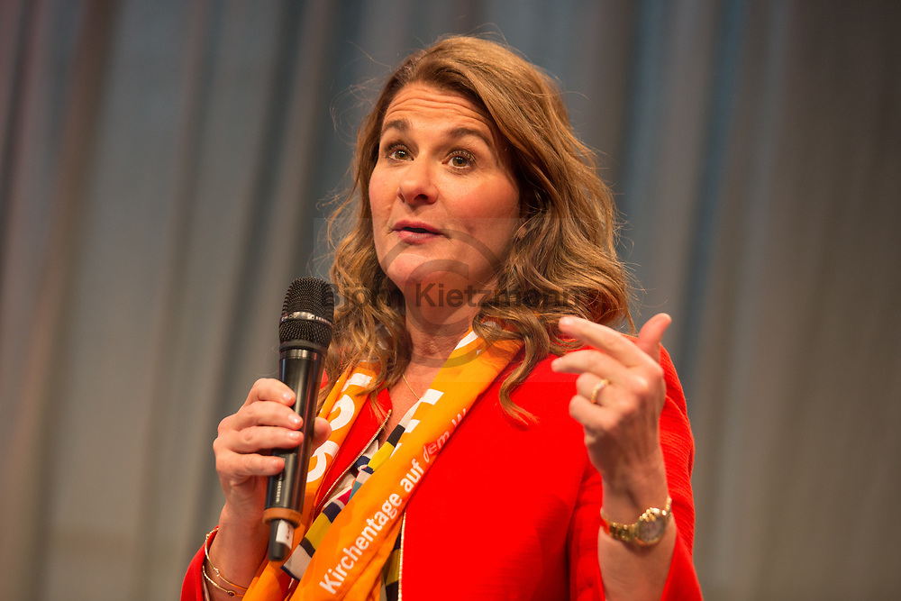 Berlin, Germany - 25.05.2017<br /> <br /> Melinda Gates, American philanthropist and wife of Microsoft founder Bill Gates. German Protestant Church Assembly (&quot;Deutscher Evangelischer Kirchentag&rdquo;) in Berlin. <br /> <br /> Melinda Gates,  US-amerikanische Philanthropin und Ehefrau von Microsoft Gruender Bill Gates. Deutscher Evangelischer Kirchentag 2017 in Berlin. <br /> <br /> Photo: Bjoern Kietzmann