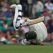 Michael Hussey falls as he is hit by a throw at the stumps during the Australia V Pakistan 2nd Cricket Test match at the Sydney Cricket Ground, Sydney, Australia, 3 January 2010. Photo Tim Clayton
