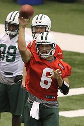 June 12, 2012; Florham Park, NJ, USA; New York Jets quarterback Mark Sanchez (6) during New York Jets Minicamp at the Atlantic Health Training Center.