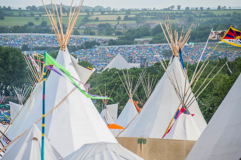 The Tipi village. The 2015 Glastonbury Festival, Worthy Farm, Glastonbury.