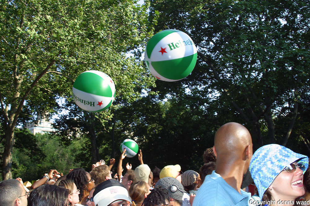Heineken balls dance in the crowd during De La Soul performance at Central Park SummerStage on July 12, 2003.