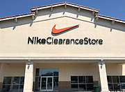 General overall view of the swoosh logo at the Nike Clearance store at the Valencia Marketplace in Stevenson Ranch (Santa Clarita), Calif., Thursday, August 16, 2018. Colin Kaepernick (not pictured) is featured in a Nike ad for the 30th anniversary of the Just Do it campaign.