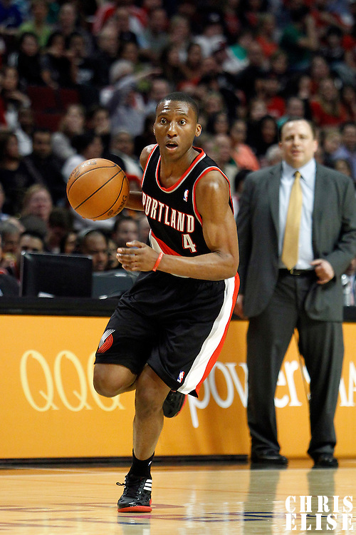 16 March 2012: Portland Trail Blazers guard Nolan Smith (4) brings the ball upcourt during the Portland Trail Blazers 100-89 victory over the Chicago Bulls at the United Center, Chicago, Illinois, USA.