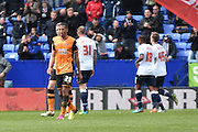 Hull City Defender, Isaac Hayden walks away after Bolton score during the Sky Bet Championship match between Bolton Wanderers and Hull City at the Macron Stadium, Bolton, England on 30 April 2016. Photo by Mark Pollitt.