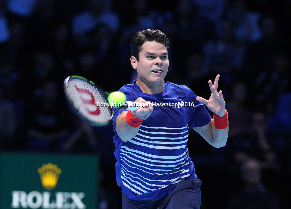 MILOS RAONIC (CAN), ATP World Tour Finals, O2 Arena, London, England.<br /> <br /> Tennis - ATP World Tour Finals 2016 - ATP -  O2 Arena - London -  - Great Britain  - 15 November 2016. <br /> &copy; Juergen Hasenkopf/Grieves