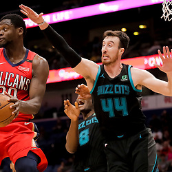 Apr 3, 2019; New Orleans, LA, USA;  New Orleans Pelicans center Julius Randle (30) is defended by Charlotte Hornets forward Frank Kaminsky (44) during the second half at the Smoothie King Center. Mandatory Credit: Derick E. Hingle-USA TODAY Sports