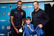 AFC Wimbledon midfielder Liam Trotter (14), Sponsorduring the EFL Sky Bet League 1 match between AFC Wimbledon and Scunthorpe United at the Cherry Red Records Stadium, Kingston, England on 15 September 2018.