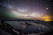 The Milky Way galaxy rises above Crater Lake National Park in southern Oregon.