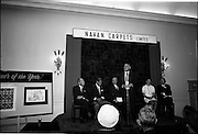 "28/06/1967<br /> 06/28/1967<br /> 28 June 1967<br /> Presentation of prizes at Navan Carpets ""Young Designer of the Year"" reception in the Royal Hibernian Hotel, Dublin. Visible on the stage were (l-r): Mr. B.V. Fox, Navan Carpets Ltd.; Mr. Michael Bourke, Principal of the National College of Art; Mr. James White, Director National Gallery of Ireland; Mr. Allan Mallinson, Managing Director, Navan Carpets Ltd., speaking; Miss Linda Willis, winner of the competition and Mr. J. Short, Navan Carpets Ltd.."