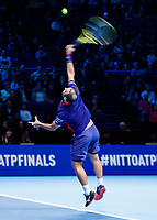 Tennis - 2019 Nitto ATP Finals at The O2 - Day Six<br /> <br /> Doubles Group Max Mirnyi: Juan Sebastien Cabal (COL) & Robert Farah (COL) Vs. Kevin Krawietz (GER) & Andreas Mies (GER)<br /> <br /> Juan Sebastien Cabal (COL) serving <br /> <br /> <br /> COLORSPORT/DANIEL BEARHAM
