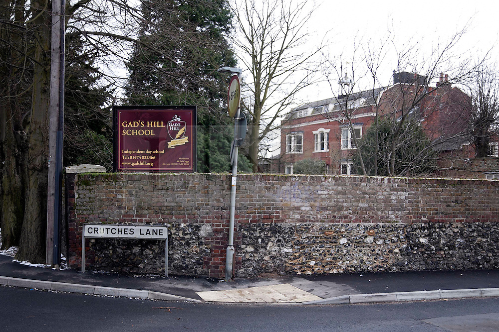 © London News Pictures. 11/03/2013. Entrance of Gad's Hill School in Higham, Kent. Pupil of this school, 16 year old Charlie Booth was found dead at his home after apparently shooting himself with his fathers gun. Photo credit should read Manu Palomeque/LNP