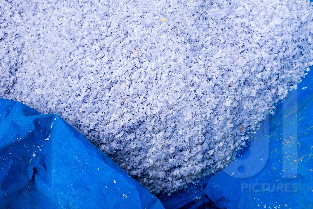 Detail of shredded plastic in Minh Khai village, Hung Yen Province, Vietnam, Southeast Asia