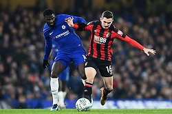 December 20, 2017 - London, England, United Kingdom - Chelsea Midfielder Tiemoue Bakayoko and Bournemouth's Lewis Cook battle for the ball during the Carabao Cup Quarter - Final match between Chelsea and AFC Bournemouth at Stamford Bridge, London, England on 20 Dec 2017. (Credit Image: © Kieran Galvin/NurPhoto via ZUMA Press)