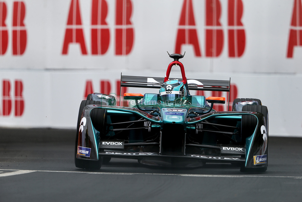 April 28, 2018 - Paris, Ile-de-France, France - China's Ma Qing Hua of the Formula E team NIO competes during the practice session of the French stage of the Formula E championship around The Invalides Monument close to The Eiffel Tower in Paris on April 28, 2018. (Credit Image: © Michel Stoupak/NurPhoto via ZUMA Press)