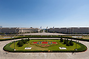 View from balcony. The Palace of the Parliament (Also known as Ceausescu's Palace or House of The People) in Bucharest, Romania. Built 1983-1989. Architect: Anca Petrescu