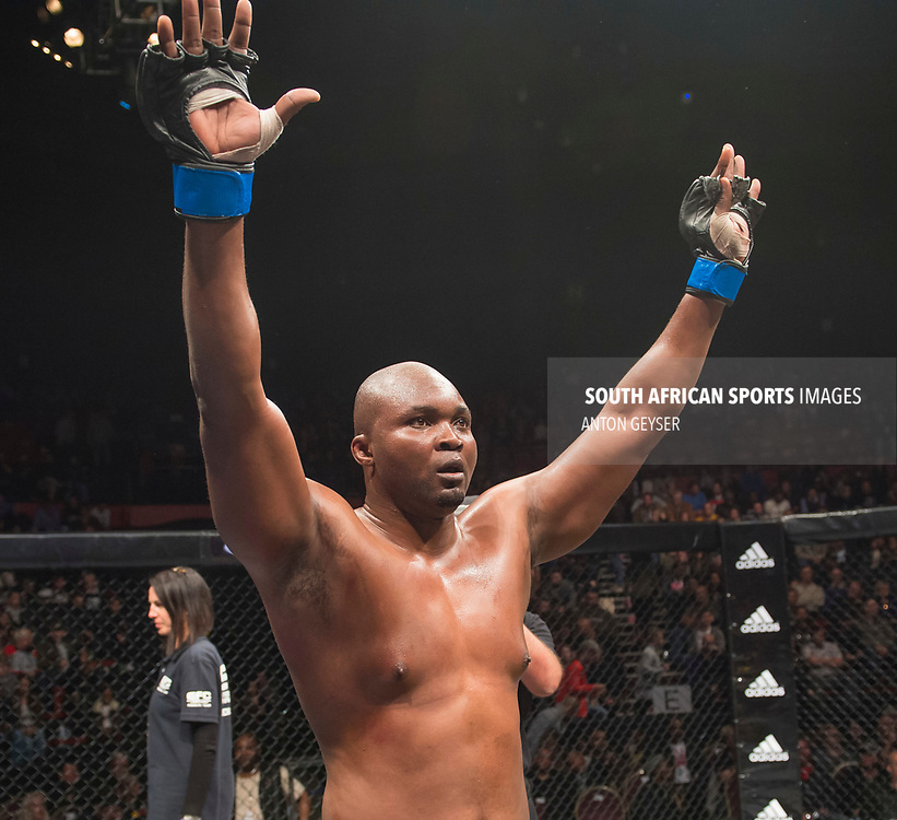 JOHANNESBURG, SOUTH AFRICA - MAY 13: Ricky Misholas celebrates after defeating Thabani Mndebela during EFC 59 Fight Night at Carnival City on May 13, 2017 in Johannesburg, South Africa. (Photo by Anton Geyser/EFC Worldwide/Gallo Images)