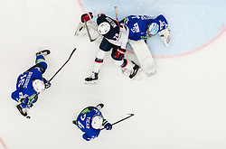 Brock Nelson of USA vs Blaz Gregorc of Slovenia, Rok Ticar of Slovenia and Robert Kristan of Slovenia during Ice Hockey match between Slovenia and USA at Day 10 in Group B of 2015 IIHF World Championship, on May 10, 2015 in CEZ Arena, Ostrava, Czech Republic. Photo by Vid Ponikvar / Sportida