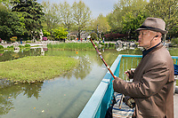"Shanghai, China - April 7, 2013: old man playing ""er wu"" traditional music instrument in fuxing park at the city of Shanghai in China on april 7th, 2013"