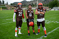 KELOWNA, BC - SEPTEMBER 8:  Tyler Going #20, Kian Ishani #8 and Robie Holland #72 of the Okanagan Sun pose for a photo at the Apple Bowl on September 8, 2019 in Kelowna, Canada. (Photo by Marissa Baecker/Shoot the Breeze)