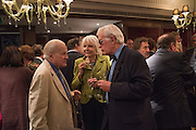 VISCOUNT NORWICH; MARY PHILLIPPS, GOEFFREY WHEATCROFT, David Campbell Publisher of Everyman's Library and Champagen Bollinger celebrate the completion of the Everyman Wodehouse in 99 volumes and the 2015 Bollinger Everyman Wodehouse prize shortlist. The Archive Room, The Goring Hotel. London. 20 April 2015.